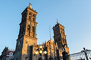 The Roman Catholic Puebla Cathedral in the central City Plaza called the Zocalo de Puebla in Puebla, Mexico.