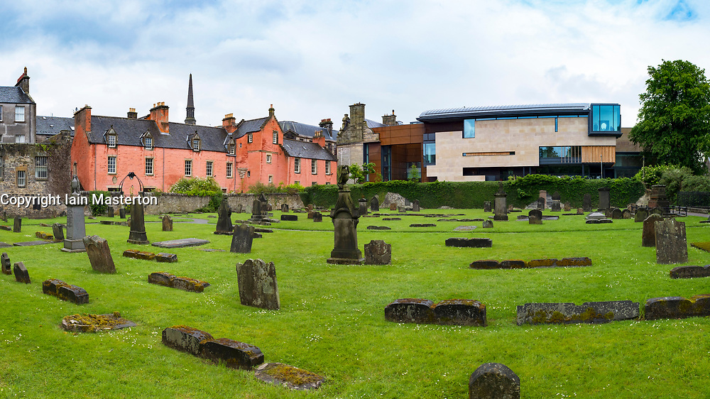 Abbot House  heritage centre on left and new extension to Dunfermline Carnegie Library & Galleries opened May 2017 in Dunfermline, Fife, Scotland, United Kingdom.