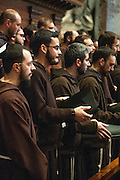 Vatican City feb 9th 2016, the pope celebrates a mass for the Order of Friars Minor Capuchin. In the picture the friars
