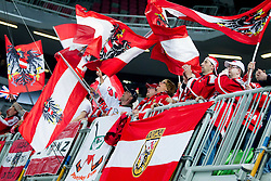 Supporters of Austria during ice-hockey match between Austria and Great Britain at IIHF World Championship DIV. I Group A Slovenia 2012, on April 16, 2012 in Arena Stozice, Ljubljana, Slovenia. Austria defeated Great Britain 6-3. (Photo by Vid Ponikvar / Sportida.com)