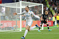 KIEV, UKRAINE - MAY 26: Gareth Bale of Real Madrid celebrates scoring a goal during the UEFA Champions League final between Real Madrid and Liverpool at NSC Olimpiyskiy Stadium on May 26, 2018 in Kiev, Ukraine. (MB Media)