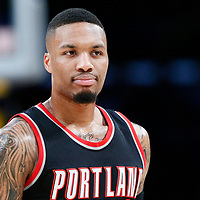 26 March 2016: Portland Trail Blazers guard Damian Lillard (0) is seen during the Portland Trail Blazers 97-81 victory over the Los Angeles Lakers, at the Staples Center, Los Angeles, California, USA.