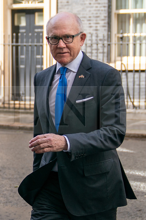 © Licensed to London News Pictures. 08/05/2019. London, UK. United States Ambassador to the United Kingdom Woody Johnson leaves 10 Downing Street after talks between US Secretary of State Mike Pompeo and British Prime Minister Theresa May (both not pictured) took place. Photo credit : Tom Nicholson/LNP