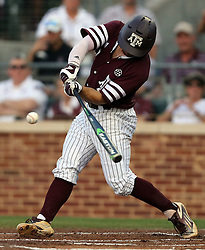 Texas A&M's Ryne Birk (2) hits a single against TCU during the first inning of a NCAA college baseball Super Regional tournament game, Saturday, June 11, 2016, in College Station, Texas. (AP Photo/Sam Craft)