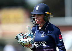 Lauren Winfield of England cuts a dejected figure after being dismissed by Lea Tahuhu of New Zealand Women - Mandatory by-line: Robbie Stephenson/JMP - 12/07/2017 - CRICKET - The County Ground Derby - Derby, United Kingdom - England v New Zealand - ICC Women's World Cup match 21