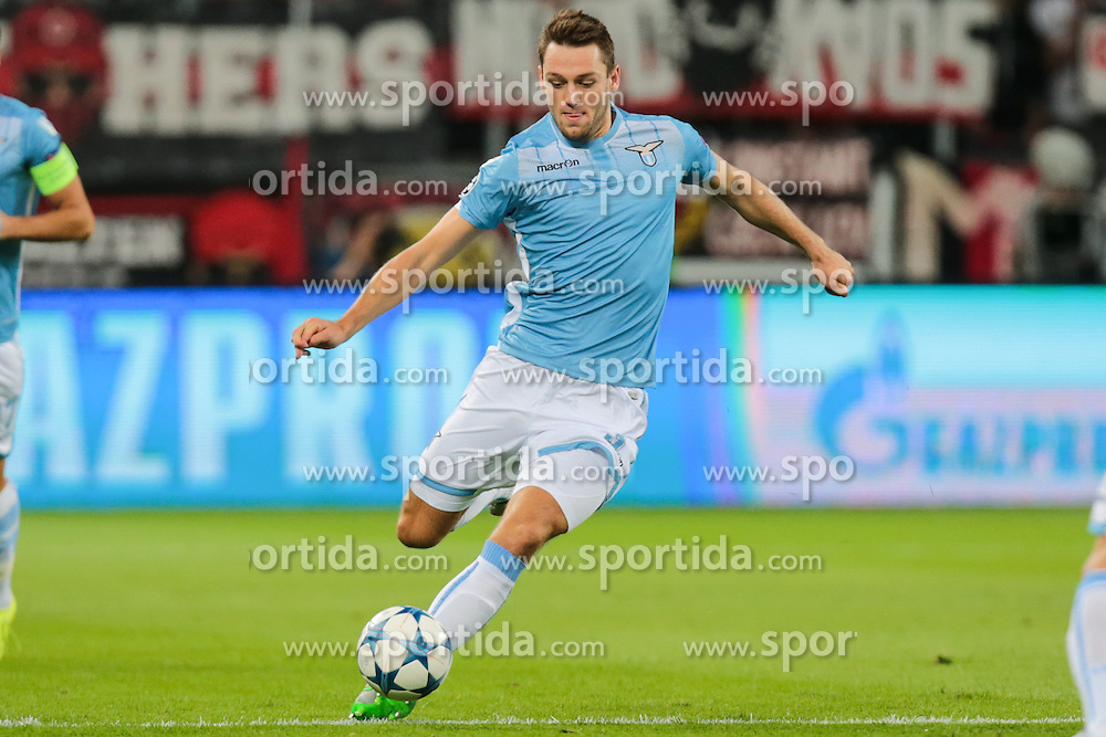 26.08.2015, BayArena, Leverkusen, GER, UEFA CL, Bayer 04 Leverkusen vs Lazio Rom, Playoff, R&uuml;ckspiel, im Bild Stefan de Vrij (#3, Lazio Rom) // during UEFA Champions League Playoff 2nd Leg match between Bayer 04 Leverkusen and SS Lazio at the BayArena in Leverkusen, Germany on 2015/08/26. EXPA Pictures &copy; 2015, PhotoCredit: EXPA/ Eibner-Pressefoto/ Deutzmann<br /> <br /> *****ATTENTION - OUT of GER*****