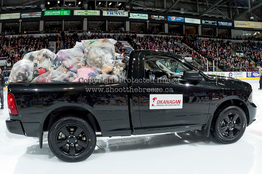 KELOWNA, CANADA - DECEMBER 3: Okanagan Dodge pick up trucks are filled with teddy bears after the annual toss on December 3, 2016 at Prospera Place in Kelowna, British Columbia, Canada.  (Photo by Marissa Baecker/Shoot the Breeze)  *** Local Caption ***