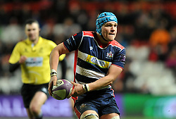 Olly Robinson (c) of Bristol Rugby passes the ball  - Mandatory by-line: Paul Knight/JMP - 13/01/2017 - RUGBY - Ashton Gate - Bristol, England - Bristol Rugby v Bath Rugby - European Challenge Cup