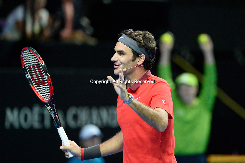 12.01.15 Sydney, Australia. Roger Federer (SUI) at the press conference after his match against Lleyton Hewitt (AUS) at the FAST4 tennis exhibition match at the Qantas Credit Union Arena.