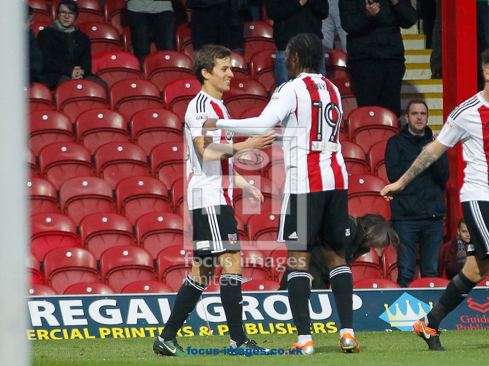 Lasse Vibe of Brentford celebrates scoring the third goal during the FA Cup 3rd round match between  Brentford and Eastleigh FC  at Griffin Park, London<br /> Picture by Mark D Fuller/Focus Images Ltd +44 7774 216216<br /> 07/01/2017
