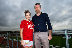Megan Alexander of Bristol City Women's FC poses with manager Willie Kirk - Mandatory byline: Rogan Thomson/JMP - 11/01/2016 - FOOTBALL - Stoke Gifford Stadium - Bristol, England - Bristol City Women's FC New Signings.