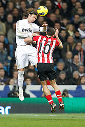 22.01.2012, Santiago Bernabeu Stadion, Madrid, ESP, Primera Division, Real Madrid vs Athletic Bilbao, 1. Spieltag, Nachtrag, im Bild Real Madrid's Sergio Ramos and Athletic de Bilbao's Oscar de Marcos Arana // during the football match of spanish 'primera divison' league, 1th round, supplement, between Real Madrid and Athletic Bilbao at Santiago Bernabeu stadium, Madrid, Spain on 2012/01/22. EXPA Pictures © 2012, PhotoCredit: EXPA/ Alterphotos/ Cesar Cebolla..***** ATTENTION - OUT OF ESP and SUI *****