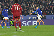 Dennis Praet (26) shoots during the Premier League match between Leicester City and Liverpool at the King Power Stadium, Leicester, England on 26 December 2019.