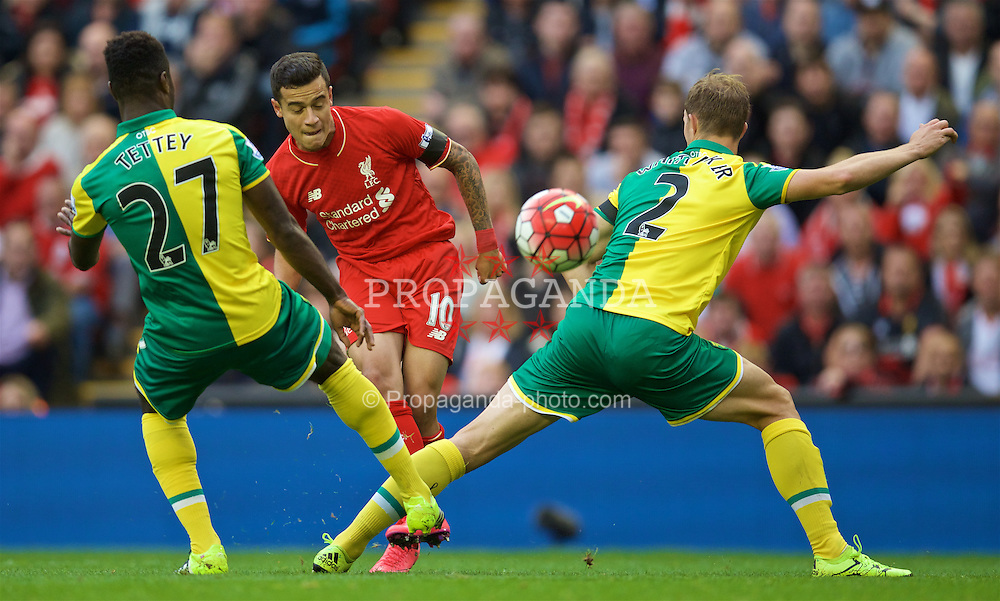 LIVERPOOL, ENGLAND - Sunday, September 20, 2015: Liverpool's Philippe Coutinho Correia in action during the Premier League match against Norwich City at Anfield. (Pic by David Rawcliffe/Propaganda)