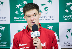 Kamil Majchrzak of Poland at press conference during the Day 1 of Davis Cup 2018 Europe/Africa zone Group II between Slovenia and Poland, on February 3, 2018 in Arena Lukna, Maribor, Slovenia. Photo by Vid Ponikvar / Sportida