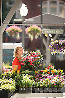 Roanoke City Market-Woman shopping at farmers market.
