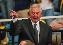 Feb 20, 2016; Morgantown, WV, USA; Former West Virginia Mountaineer Jerry West attends the game between West Virginia Mountaineers and the Oklahoma Sooners at the WVU Coliseum. Mandatory Credit: Ben Queen-USA TODAY Sports