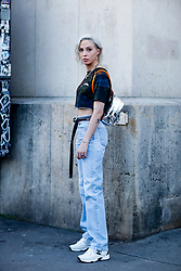 Street style, Dani Mercer arriving at Off White Spring-Summer 2019 menswear show held at Palais de Chaillot, in Paris, France, on June 20th, 2018. Photo by Marie-Paola Bertrand-Hillion/ABACAPRESS.COM