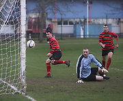Fintry Athletic's Steven Murphy  (7) heads home to make it 2-0 during his side's last 16 Scottish Cup clash with Medda Sports - Dundee Sunday Amateur Football<br /> <br />  - &copy; David Young - www.davidyoungphoto.co.uk - email: davidyoungphoto@gmail.com
