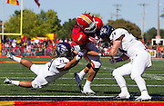 Angel Lopez (21) and Caleb Withrow (34) of the Abilene Christian Wildcats collide with Jeff Seybold, Jr. (1) of the Pittsburg State Gorillas at the goal line during Saturday's football game at Carnie Smith Stadium on October 5, 2013 in Pittsburg, Kansas. (David Welker)