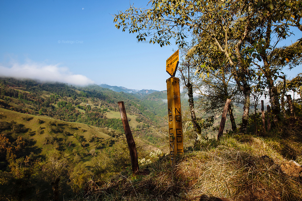 CUAXICALA, MEXICO - APRIL 5, 2018: Pole that indicates the passage of the Poza Rica - Salamanca pipeline of Petróleos Mexicanos (PEMEX) in the Necaxa River Hydrographic Basin a Natural Protected Area since 1938. Due to the increase of military operations in the area known as the red triangle, the hydrocarbon theft has moved to the Sierra Norte de Puebla. Rodrigo Cruz for Rolling Stone