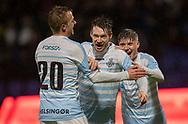 Nikolaj S. Hansen (FC Helsingør) jubler med Jonas Henriksen og Frederik Juul Christensen efter 3-0 målet under kampen i 2. Division mellem FC Helsingør og Skovshoved IF den 11. oktober 2019 på Helsingør Ny Stadion (Foto: Claus Birch).