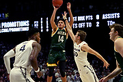 Jordan King (14) of Siena shoots over Leighton Schrand (10) of Xavier during an NCAA college basketball game, Friday, Nov. 8, 2019, at the Cintas Center in Cincinnati, OH. Xavier defeated Siena 81-63. (Jason Whitman/Image of Sport)