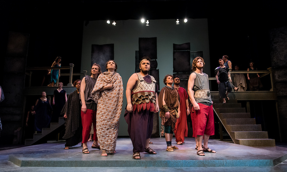 An all student cast performs Troilus & Cressida by William Shakespeare in the Magnuson Theatre on February 12th, 2017. (Photo by Gonzaga University)