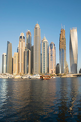 Skyline of skyscrapers  at Marina district of Dubai United Arab Emirates