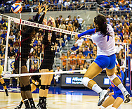 Florida gator Gabby Mallette spikes against Florida State defenders Sunday night in the 3-1 victory against the Seminoles at the O'Connel Center. (photo by Samuel Navarro)