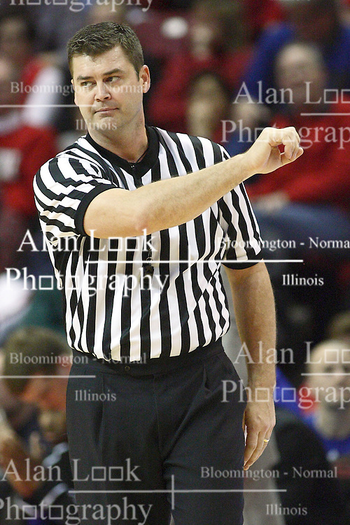 12 January 2013:  Referee Jeff Campbell during an NCAA Missouri Valley Conference mens basketball game Where the Bulldogs of Drake University beat the Illinois State Redbirds 82-77 in Redbird Arena, Normal IL