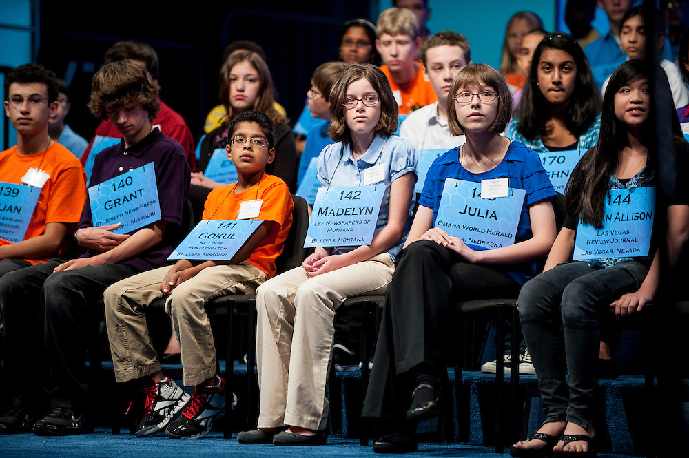 MADELYN KIRSCH, 13, of Lewistown, MT, competes in round two of the 85th Annual Scripps National Spelling Bee at the Gaylord National Resort & Convention Center in National Harbor, Md., near Washington, D.C.