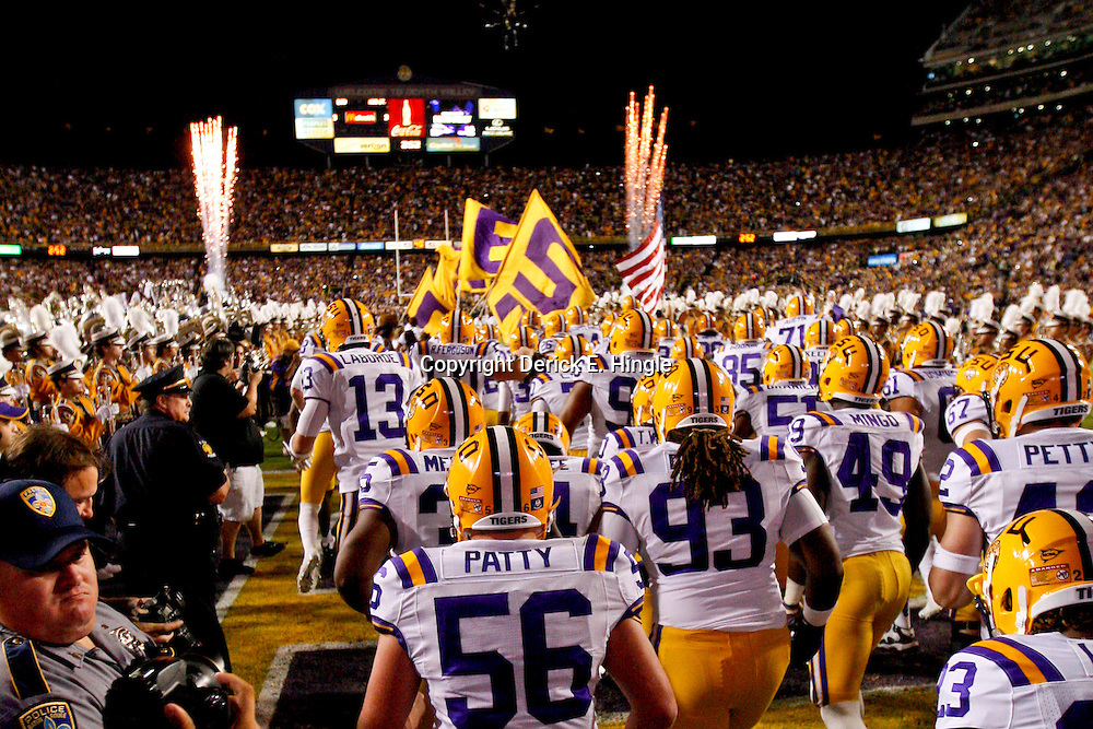November 10, 2012; Baton Rouge, LA, USA; The LSU Tigers run out onto the field prior to kickoff of a game against the Mississippi State Bulldogs at Tiger Stadium.  LSU defeated Mississippi State 37-17. Mandatory Credit: Derick E. Hingle-US PRESSWIRE