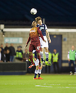 Ben Thompson of Millwall  wins the header from Kyel Reid of Bradford City during the Sky Bet League 1 Playoff Semi-final Leg Two at The Den, London<br /> Picture by Alan Stanford/Focus Images Ltd +44 7915 056117<br /> 20/05/2016