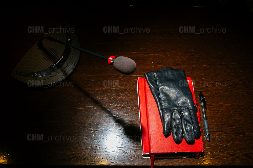 The desk where Giorgia Meloni, the leader of the right-wing party Brothers of Italy, held a press conference. Roma 15 March 2018. Christian Mantuano / OneShot
