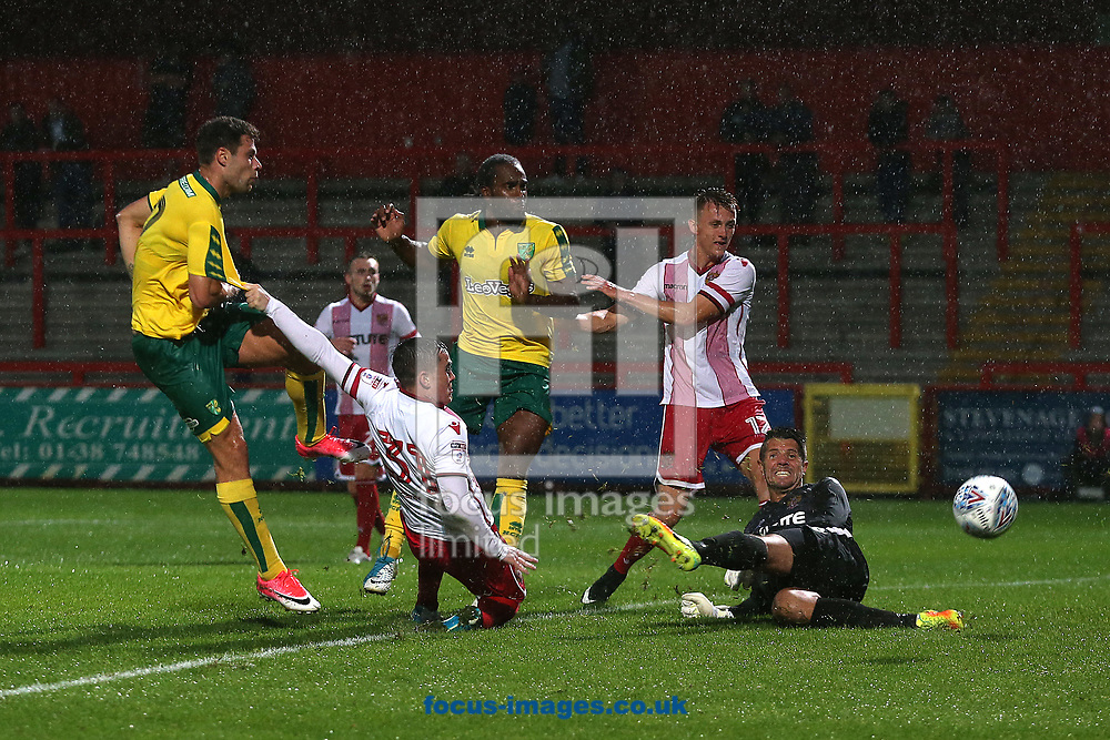Yanic Wildschut of Norwich has a shot on goal that is blocked during the Pre-season Friendly match at the Lamex Stadium, Stevenage<br /> Picture by Paul Chesterton/Focus Images Ltd +44 7904 640267<br /> 11/07/2017