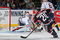 KELOWNA, CANADA - SEPTEMBER 24: Dylan Ferguson #31 of the Kamloops Blazers defends the net against the Kelowna Rockets on September 24, 2016 at Prospera Place in Kelowna, British Columbia, Canada.  (Photo by Marissa Baecker/Shoot the Breeze)  *** Local Caption *** Dylan Ferguson;