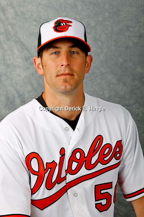 March 1, 2012; Sarasota, FL, USA; Baltimore Orioles relief pitcher Darren O'Day (56) poses for a portrait during photo day at the spring training headquarters.  Mandatory Credit: Derick E. Hingle-US PRESSWIRE