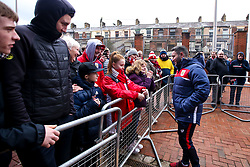 Bristol City head coach Lee Johnson meets fans on arrival at Ewood Park for the Sky Bet Championship fixture against Blackburn Rovers - Mandatory by-line: Robbie Stephenson/JMP - 09/02/2019 - FOOTBALL - Ewood Park - Blackburn, England - Blackburn Rovers v Bristol City - Sky Bet Championship