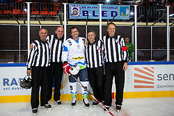 Tomaz Razingar with referees at Poslovilna tekma Tomaza Razingarja, on July 16, 2016 in Ledna dvorana, Bled, Slovenia. Photo by Matic Klansek Velej / Sportida