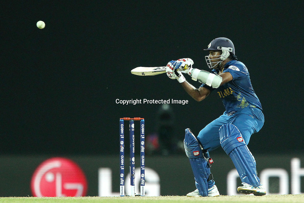 Mahela Jayawardene lifts the ball to the boundary for four during the ICC World Twenty20 Super 8s match between Sri Lanka and The West Indies held at the  Pallekele Stadium in Kandy, Sri Lanka on the 29th September 2012<br /> <br /> Photo by Ron Gaunt/SPORTZPICS