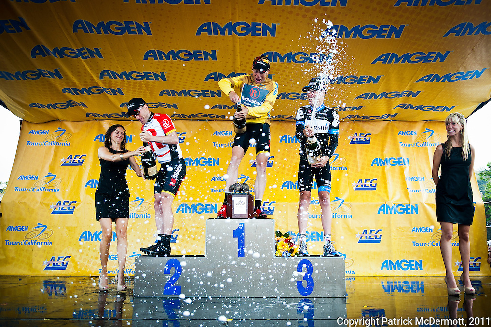 From left, Radioshack team riders Levi Leipheimer (2nd place) of the United States, Chris Horner (1st place) of the United states and Garmin- Cervelo team rider Thomas Danielson (3rd place) celebrate on the podium after receiving general classification awards for the 2011 AMGEN Tour of California in Thousand Oaks, Calif. on Sunday, May 22, 2011.