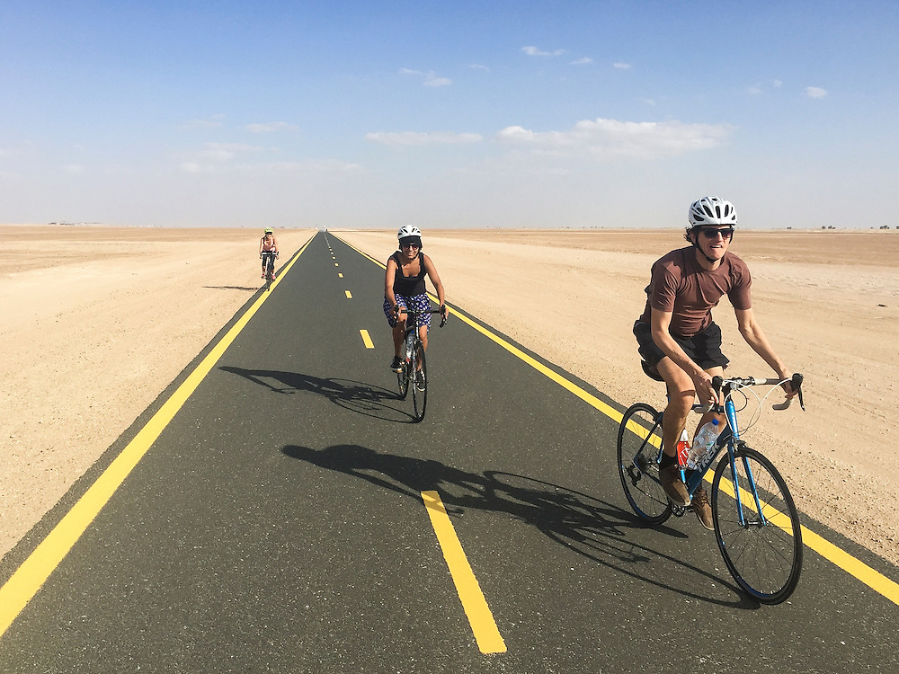 DUBAI, UAE — NOVEMBER 14, 2015: Biking in the desert in Dubailand **IPHONE**