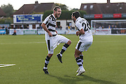 Goalscorer Forest Green Rovers Liam Noble(15) celebrates with Forest Green Rovers Fabien Robert(26) during the The FA Cup 4th qualifying round match between Sutton United and Forest Green Rovers at Gander Green Lane, Sutton, United Kingdom on 15 October 2016. Photo by Shane Healey.
