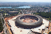 Belo Horizonte_MG, Brasil.<br /> <br /> Imagem aerea da reforma do estadio Governador Magalhaes Pinto, Mineirao, ao fundo Lagoa da Pampulha e Mineirinho, em Belo Horizonte, Minas Gerais.<br /> <br /> Aerial view of  works in Governador Magalhaes Pinto stadium, Mineirao, in the background Pampulha Lake and Mineirinho in Belo Horizonte, Minas Gerais.<br /> <br /> Foto: RODRIGO LIMA / NITRO