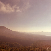 Gunung (Mount) Batur, Lake Batur and Gunung Aban in the clouds