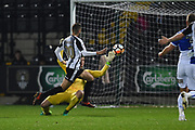 Notts County Jorge Grant (10) beats Bristol Rovers goalkeeper Adam Smith (21) but is ruled off-side during the The FA Cup match between Notts County and Bristol Rovers at Meadow Lane, Nottingham, England on 3 November 2017. Photo by Jon Hobley.