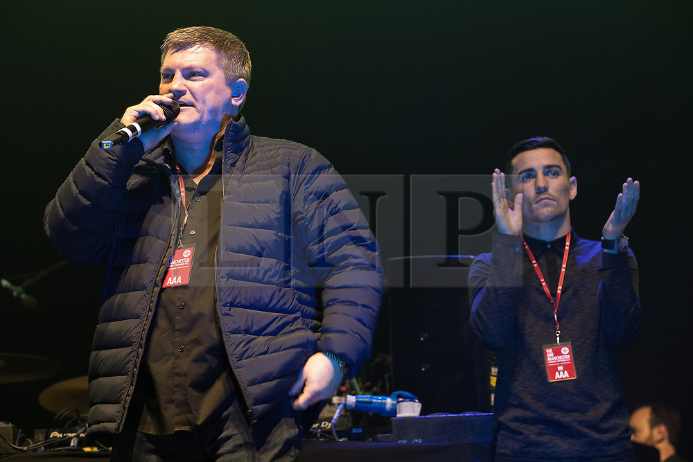 © Licensed to London News Pictures . 09/09/2017. Manchester , UK . Ricky Hatton , Anthony Crolla on the stage . We Are Manchester reopening charity concert at the Manchester Arena with performances by Manchester artists including  Noel Gallagher , Courteeners , Blossoms and the poet Tony Walsh . The Arena has been closed since 22nd May 2017 , after Salman Abedi's terrorist attack at an Ariana Grande concert killed 22 and injured 250 . Money raised will go towards the victims of the bombing . Photo credit: Joel Goodman/LNP