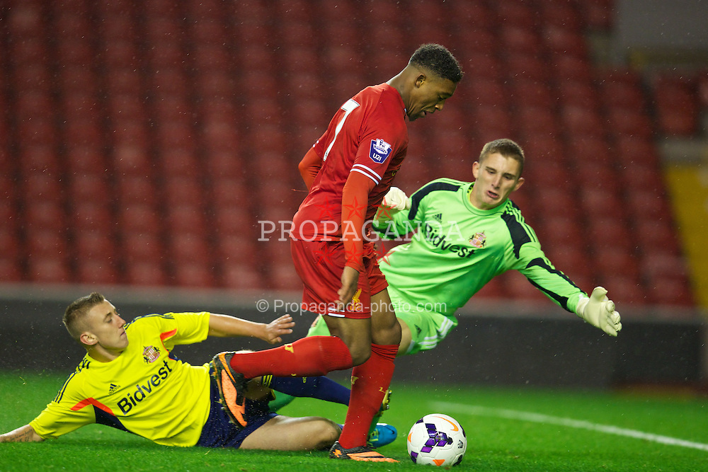 LIVERPOOL, ENGLAND - Tuesday, September 17, 2013: Liverpool's Jordan Ibe in action against Sunderland during the Under 21 FA Premier League match at Anfield. (Pic by David Rawcliffe/Propaganda)