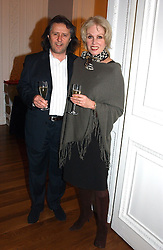 Actress JOANNA LUMLEY and her husband MR STEPHEN BARLOW at a party to celebrate the publication of 'Blow Up' - a biography of the late actor David Hemmimgs, held at the Institute of Contemporary Arts, The Mall, London on 27th September 2004.<br /><br />NON EXCLUSIVE - WORLD RIGHTS